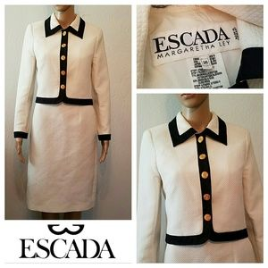 $1895 ESCADA Black & White Quilted Skirt Suit
